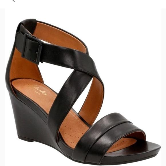 a4ed53c6188 Clarks Shoes - Clark s Acina Newport wedge sandal in black
